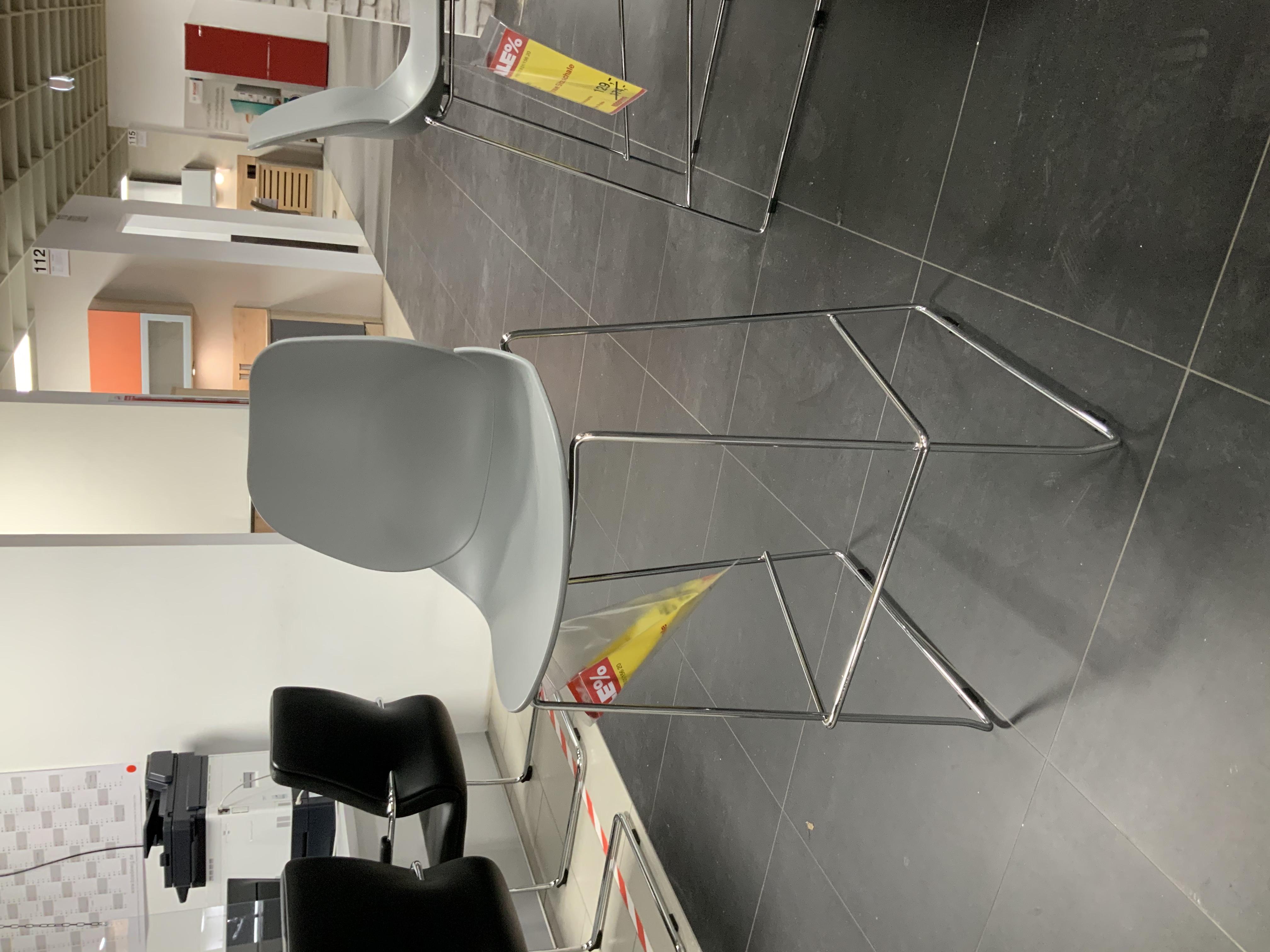 Barstuhl Gestell Chrom, Sitzschale Kunststoff Grau 558084