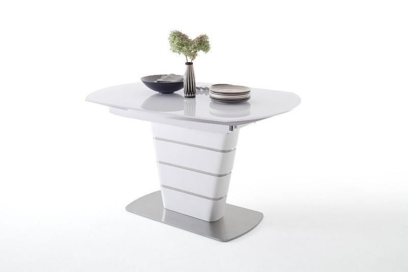 Esstisch weiß  mit Glasplatte, Gestell MDF  236019-001